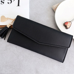 2estfashion Long hand-held simple heart-shaped tassel pendant multi-function ladies wallet black regular