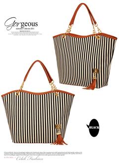 2estfashionNew tassel pendant fashion women's bag striped canvas bag tide female shoulder bag black regular regular Canvas