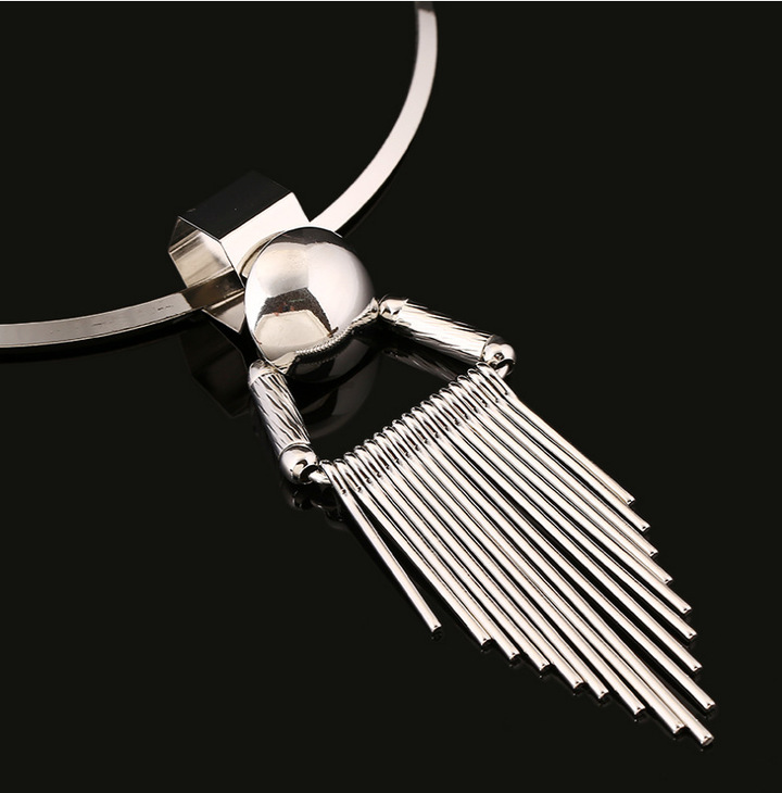 Street racket alloy fringed Necklace silver general