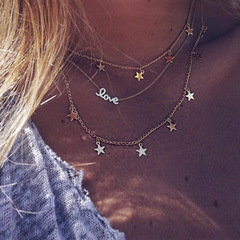 European and American Pentagon Love Multi-Layer Necklace gold general
