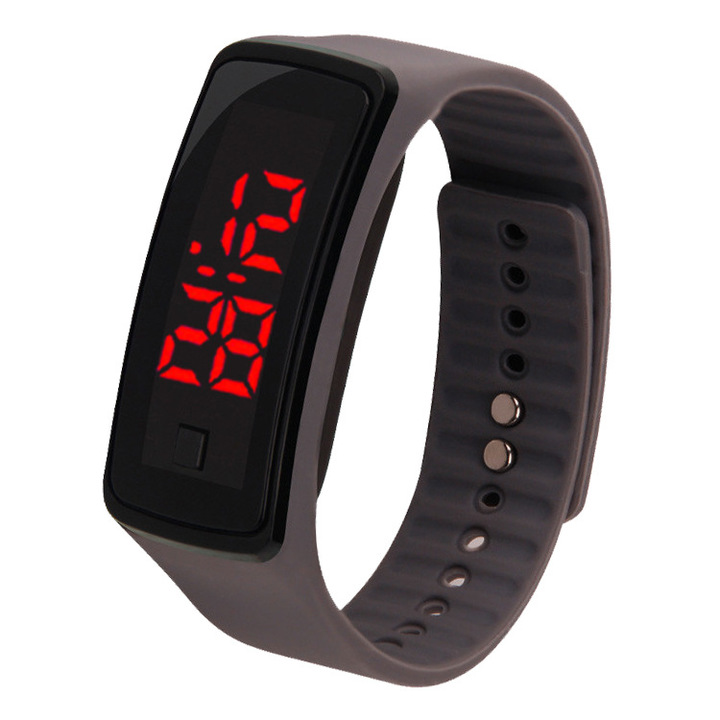 Korean version led touch watch sports electronic hand ring watch LED watch silica gel Watch gray general