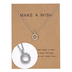paper card Necklace paper card inlaid drill hollow round Pendant Necklace personality lady jewelry silver general