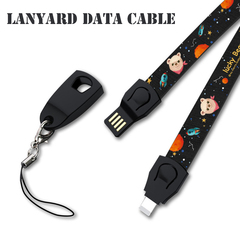 2estfashion lanyard data cable for mobile phone Android type-c weaving usb storage charging cable balck [long] Android-86cm