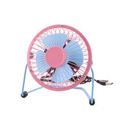 2ESTFASHION New summer mini usb small fan ultra quiet desktop fan iron fan powder blue