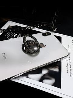 2ESTFASHION 360° Rhinestone bracket mobile phone ring buckle with drill bracket black gray one size
