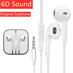 Original Earphones Wire Hybrid Stereo In-Ear earphone With Mic Wire Sound Control white