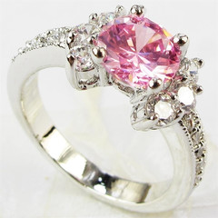 Fashion 925 sterling silver ring size 6-9 ct magic princess cut pink sapphires red 5