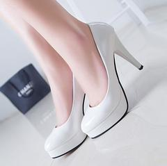 Hot sale discount 2019 new  high quality large size women's high heels white 38