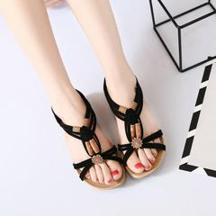 Hot sale discount new  summer bohemian flat sandals hand-knitted black 41