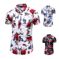 Promotional hot fashion men's tops printing short-sleeved shirt thin section beach shirt large size #1 l