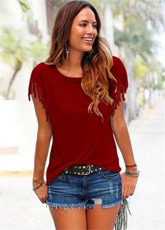 Hot sale 2019 women's tops summer new T-shirt round collar tassel short-sleeved ladies t-shirt red 2xl