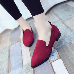 2019 hot sale new solid color pointed comfortable low-heeled professional office shoes wine red 35