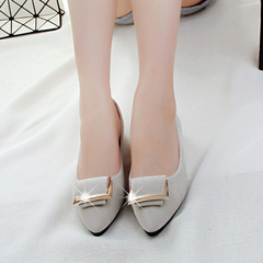 2019 hot sale promotion new woman's shoes metal square buckle flat with pointed office casual shoes gray 35