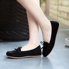 2019 new hot sale promotion bow tassel tendon soft bottom women's flat shoes black 38