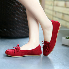 2019 new hot sale promotion bow tassel tendon soft bottom women's flat shoes wine red 39