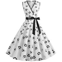 2019 women's dress spring and summer new V-neck sleeveless printed vintage dress l #1