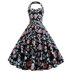 2019 summer new women's dress sexy high waist long small dress flower print XXL as picture