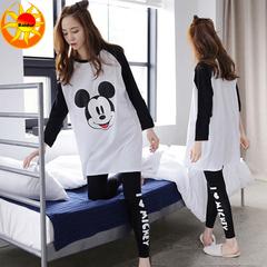 Promotion Women's Hot Sale Sleepwear Long Sleeve Pajamas Leisure Wear Loose Home Suits 10#Mickey xl