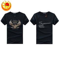 2 Pack Hot Sale Cotton Clothes ,Printed Shirts, Men's Wear Fashion Short-sleeved T-shirt , wing black+super black s cotton