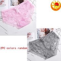 Hot Sale Wear Women's Sexy Lingerie Lace Underwear Solid Color Briefs Low Waist Panties 2pcs colors random cheaper l