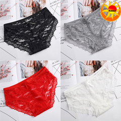 Hot Sale Wear Women's Sexy Lingerie Lace Underwear Solid Color Briefs Low Waist Panties 4 pcs random colors cheaper l