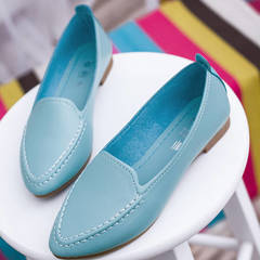Hot sale women's casual shallow mouth shoes, peas shoes flat shoes, round head shoes blue 35