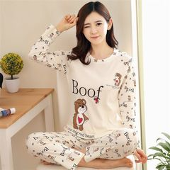 Promotion Women's Hot Sale Sleepwear Long Sleeve Pajamas Leisure Wear Loose Home Suits 13#love bear l