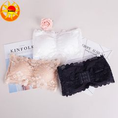 3PC Women's Lace chest pad lingerie wipe back bra strapless underwear girl wipe thoracic lace (black +white+ skin) one size