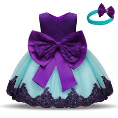 Children's clothing baby princess dress Girls bow lace kids birthday Party dress christmas gifts Purple 110cm
