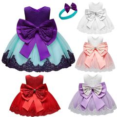 Children's clothing baby princess dress Girls bow lace kids birthday Party dress christmas gifts Purple 100cm