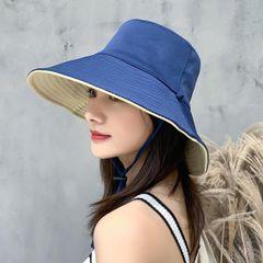 Women's hats, double-face caps, sunshade hat, foldable caps, outdoor big-edge hats blue+beige