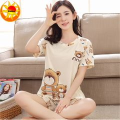 Summer Thin Women's clothes Pajamas Ladies Short Sleeves sleepwear Cute Cartoon Pajamas Home Suits Baby bear 2xl