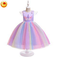 Children's clothing kids dress unicorn rainbow dress girls princess  holiday Christmas gifts Purple 140(120-130cm)