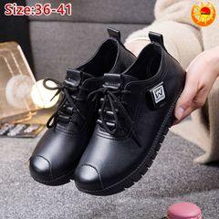 Baldur women's PU leather shoes casual non-slip shoes ladies' waterproof sports shoes random gifts black 39