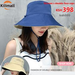clearance sale Men's/Women's hats double-face caps Ladies sunshade hat foldable caps outdoor hats blue+beige