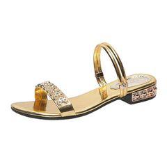 Women's sandals two wear low heel flat bottom shoes leisure slippers ladies shoes golden 41