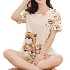 Summer Thin Women's clothes Pajamas Ladies Short Sleeves sleepwear Cute Cartoon Pajamas Home Suits Baby bear xl