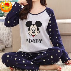 Summer Thin Women's Clothes Sleepwear Ladies Long Sleeve Pajamas Leisure Loose Home Suits Mickey xl