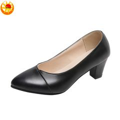 Ladies fashion heels shoes women's soft PU leather mid-heel business shoes  work shoes Black 41