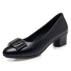 Notice  size small Shoes women's PU leather soft sole  non-slip mid-heel ladies shoes high heels Black 39