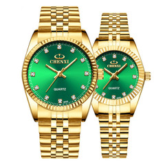 Gold Couple Watch Women Men Black Luxury Golden Stainless Steel Business  Wristwatch Waterproof Green one size
