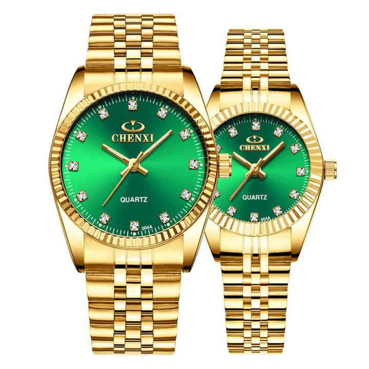 Gold Couple Watch Women Men Black Luxury Golden Stainless Steel Business  Wristwatch Waterproof Green one size