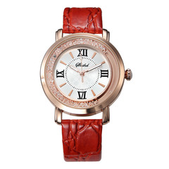 Women's Watch Luxury Roman Numeral Fashion Dress Watches Leather Quartz Rhinestone Ladies Wristwatch white one size