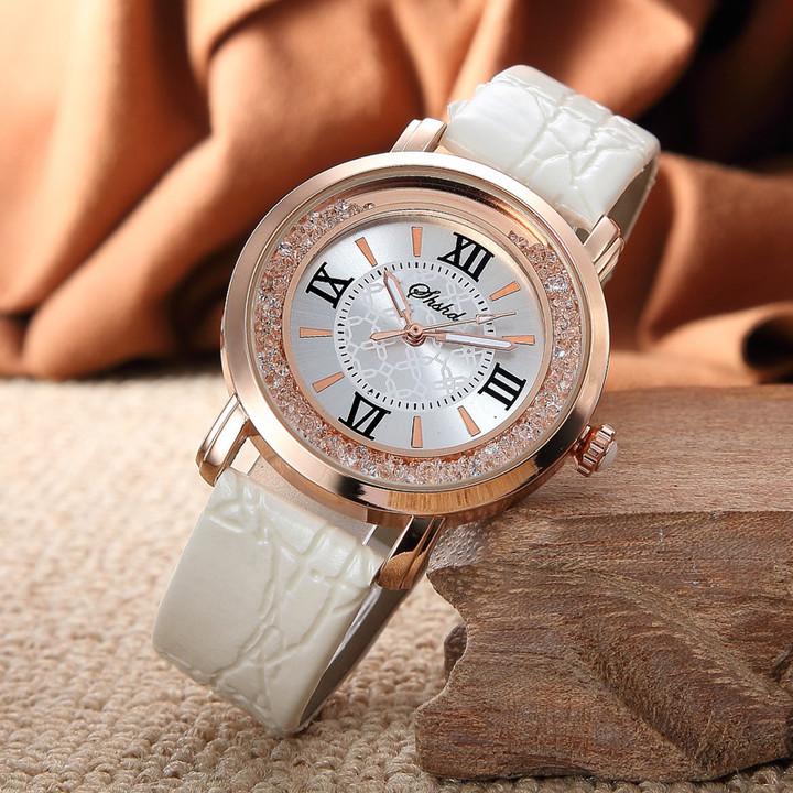 Women's Watch Luxury Roman Numeral Fashion Dress Watches Leather Quartz Rhinestone Ladies Wristwatch white one size