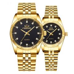 Gold Couple Watch Women Men Black Luxury Golden Stainless Steel Business  Wristwatch Waterproof black one size
