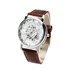 Men Watch Hollow Gold Dial Leather Strap  Luxury Roman Numeral Quartz WristWatches Student Boy Clock Brown strap white one size