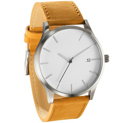 Luxury Men's Watch Fashion Watch For Men Watch Men Sport Watches Leather Casual reloj hombre brown strap white one size