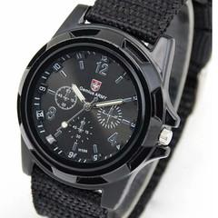 Men Casual Wristwatch Soldier Military Army Men 's Sport Style Canvas Belt Quartz Wrist Watch black one size