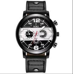 wristwatch Male Fashion Leather Band Analog Quartz Round Wrist Business mens watches men's watches black one size