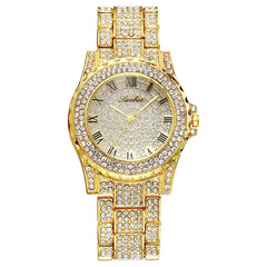 Luxury Full Diamond Quartz Watch For Women Hip Hop Gold Band Mens Watches Iced Out  Wristwatch Clock gold one size